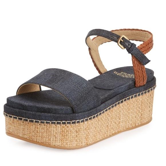 005ffb4ff3b Stuart Weitzman Yourway Denim Platform Sandal NWOB.  M 5ba15a9204e33d9ca0f5a791